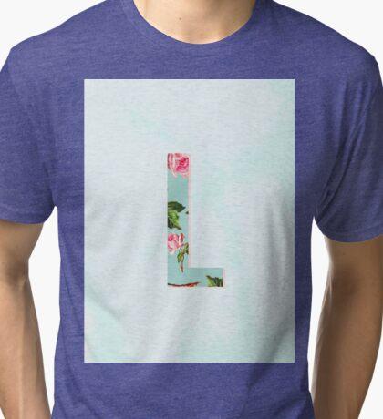 Floral Letter L - Letter Collection Tri-blend T-Shirt