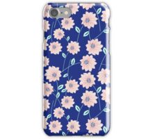 Trendy modern pink teal blue abstract flowers iPhone Case/Skin