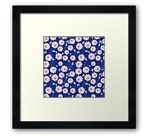 Trendy modern pink teal blue abstract flowers Framed Print
