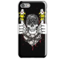 Really Weird Smiling Skull With Hair and Banana Thumbs iPhone Case/Skin
