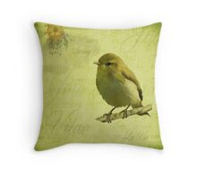 Spring Vintage Style Green Bird Throw Pillow
