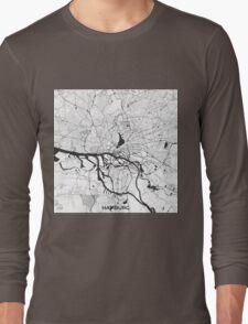 Hamburg City Map Gray Long Sleeve T-Shirt