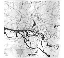 Hamburg City Map Gray Poster