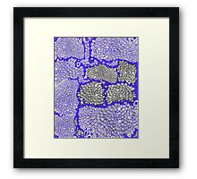I don't know indigo blue black and white honeycomb pattern Framed Print