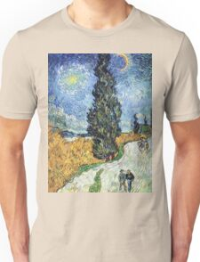Vincent van Gogh - Road with Cypress and Star Unisex T-Shirt
