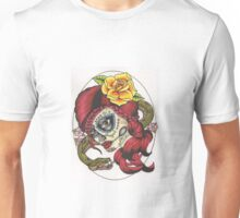 Tattoo Style Sugar Skull with Snake Unisex T-Shirt