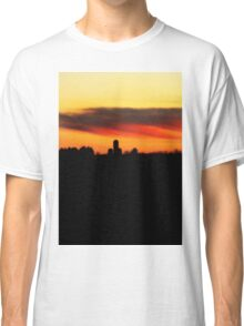 Farm Silhouette In Sunset Classic T-Shirt