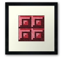 Red Blocks Pixel Pattern Framed Print