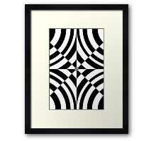 Chess, black and white geometric abstraction op-art Framed Print