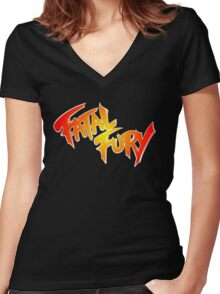 Fatal Fury: King of Fighters Women's Fitted V-Neck T-Shirt