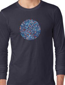 Blue Paisley Long Sleeve T-Shirt
