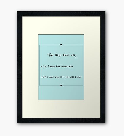 Two things about me - Hester Framed Print