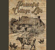 Peaceful Cottage Life Vintage Dictionary Art Unisex T-Shirt