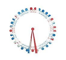 London Eye Ferris Wheel in Hand-Painted Watercolors of Union Jack UK Flag Photographic Print