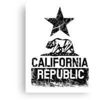 California Republic Flag Grunge Distessed Style Canvas Print