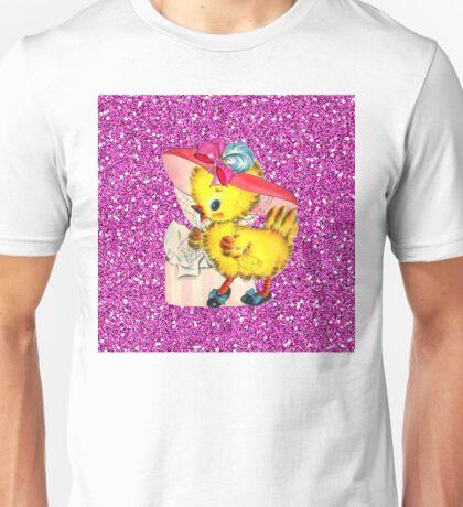 Fancy Little Vintage Easter Chick w/Bonnet & Hatbox Pink Faux Glitter Unisex T-Shirt