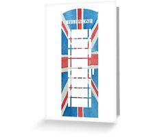 UK Phone Booth Box in Union Jack Flag Watercolors Red, White and Blue Greeting Card