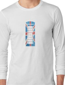 UK Phone Booth Box in Union Jack Flag Watercolors Red, White and Blue Long Sleeve T-Shirt