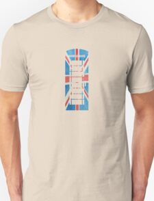 UK Phone Booth Box in Union Jack Flag Watercolors Red, White and Blue T-Shirt