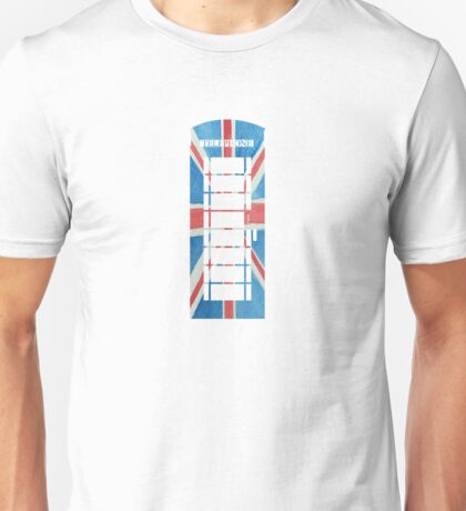 UK Phone Booth Box in Union Jack Flag Watercolors Red, White and Blue Unisex T-Shirt