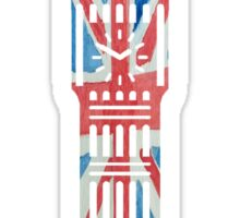 Big Ben in London Hand-Painted in UK Flag Colors Red, White and Blue Sticker