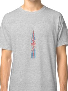 Big Ben in London Hand-Painted in UK Flag Colors Red, White and Blue Classic T-Shirt