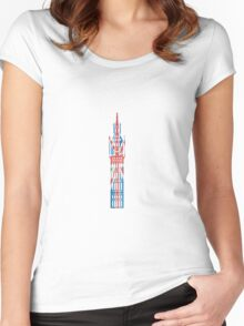 Big Ben in London Hand-Painted in UK Flag Colors Red, White and Blue Women's Fitted Scoop T-Shirt