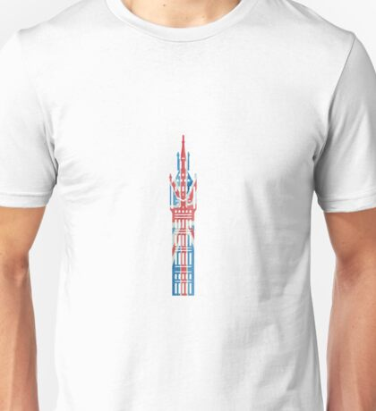 Big Ben in London Hand-Painted in UK Flag Colors Red, White and Blue Unisex T-Shirt
