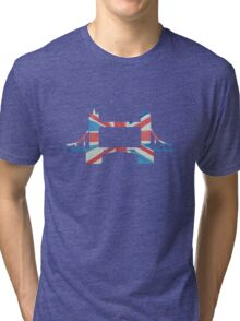 Tower Bridge London River Thames in UK Flag Water Colors Red, White and Blue Tri-blend T-Shirt