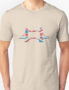 Tower Bridge London River Thames in UK Flag Water Colors Red, White and Blue T-Shirt