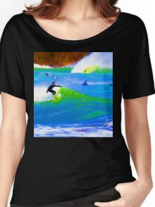 80'S Surf Style -  Beach Break Blues Women's Relaxed Fit T-Shirt