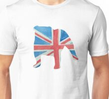 English Bulldog in UK Flag Water Colors Red, White and Blue Unisex T-Shirt