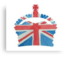 British Royal Coronation Crown in UK Flag Water Colors Red, White and Blue  Canvas Print