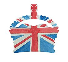 British Royal Coronation Crown in UK Flag Water Colors Red, White and Blue  Photographic Print