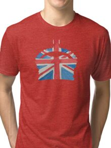 British Royal Coronation Crown in UK Flag Water Colors Red, White and Blue  Tri-blend T-Shirt