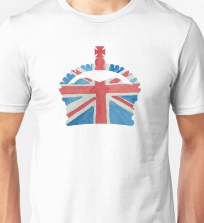 British Royal Coronation Crown in UK Flag Water Colors Red, White and Blue  Unisex T-Shirt