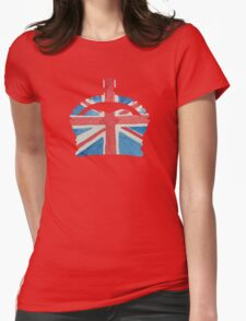 British Royal Coronation Crown in UK Flag Water Colors Red, White and Blue  Womens Fitted T-Shirt