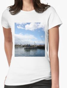 Boats at Harbour Womens Fitted T-Shirt