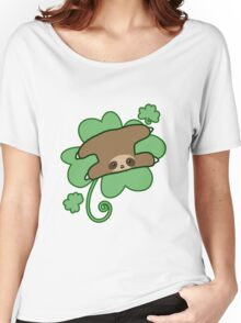 Lucky Clover Sloth Women's Relaxed Fit T-Shirt