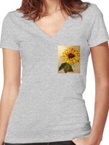 Sunflower Flames Women's Fitted V-Neck T-Shirt