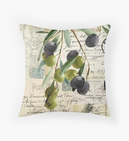 Olivia II Olive Branch Postcard Throw Pillow