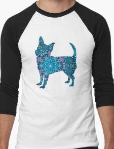 Chihuahua, Blue Bohemian Snowflake Design Men's Baseball ¾ T-Shirt