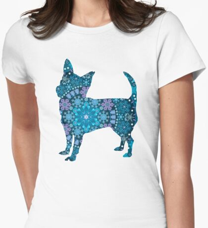 Chihuahua, Blue Bohemian Snowflake Design Womens Fitted T-Shirt