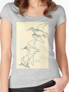 Sketching birds Women's Fitted Scoop T-Shirt