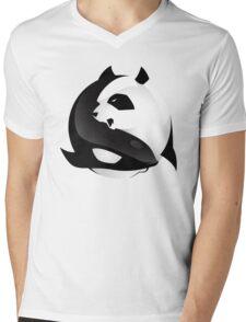 BW SHARK Vs PANDA Mens V-Neck T-Shirt