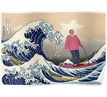 Old Surfing Woman Poster