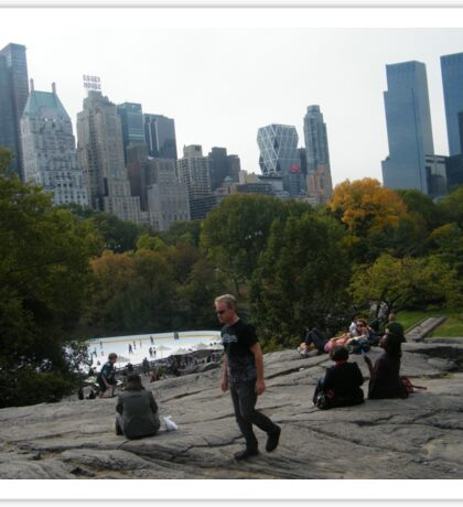 View of Wollman Rink, Central Park, from Rock Formation Sticker