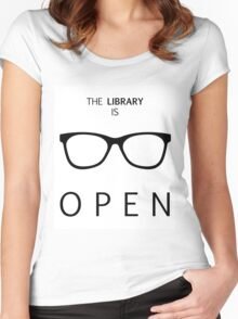 The Library is Open Women's Fitted Scoop T-Shirt