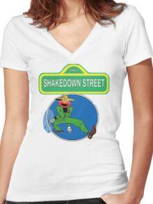Shakedown on Sesame Street (elmo) Women's Fitted V-Neck T-Shirt