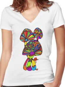 Shrooms & Gnome Women's Fitted V-Neck T-Shirt